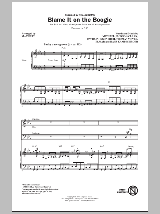 Blame It On The Boogie Sheet Music
