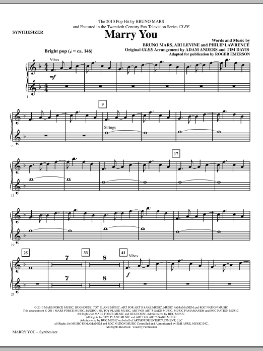 Marry You (complete set of parts) sheet music for orchestra/band (Rhythm) by Bruno Mars, Ari Levine, Philip Lawrence, Glee Cast, Miscellaneous and Roger Emerson. Score Image Preview.