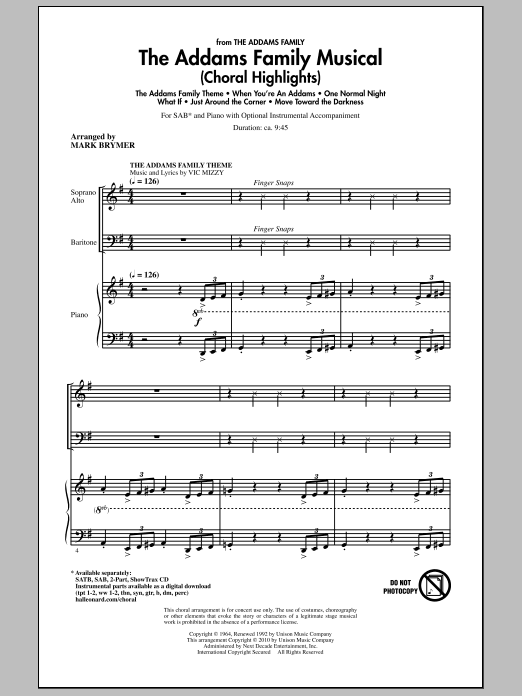 The Addams Family Musical (Choral Highlights) Sheet Music