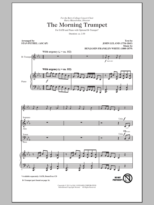 Partition chorale The Morning Trumpet de Stan Pethel - SATB