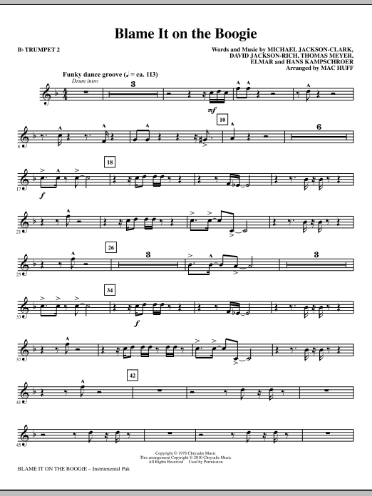 Blame It On The Boogie - Bb Trumpet 2 Sheet Music