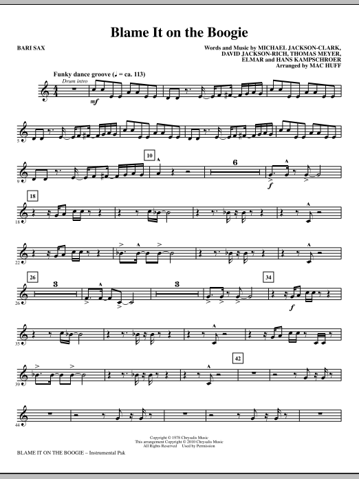 Blame It On The Boogie - Baritone Sax Sheet Music