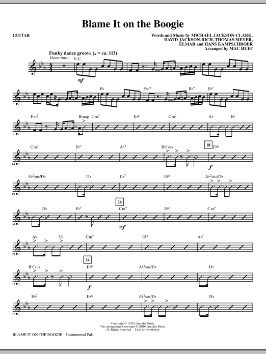 Blame It On The Boogie - Guitar Sheet Music