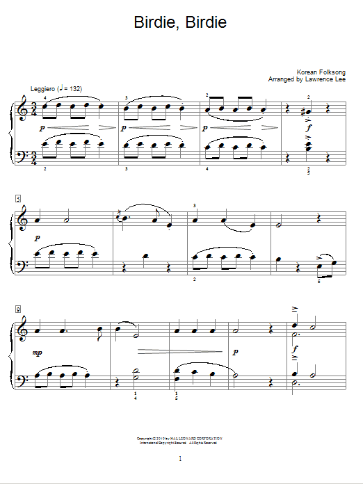 Birdie, Birdie Sheet Music