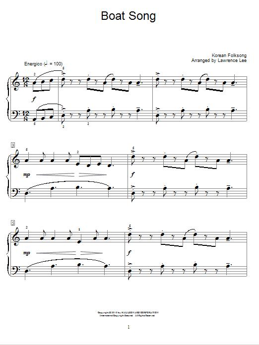 Partition piano Boat Song de Korean Folksong - Autre