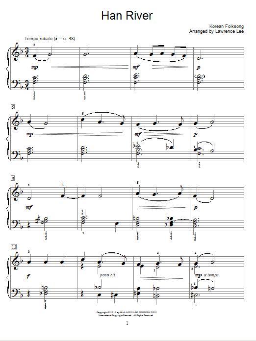 Partition piano Han River de Korean Folksong - Autre