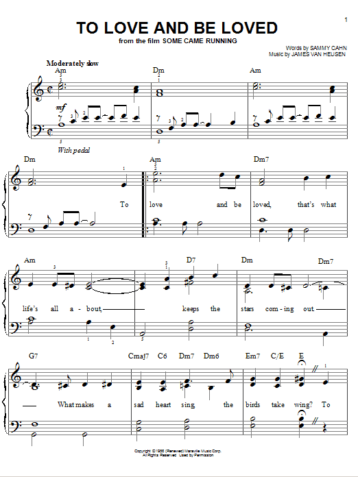 Partition piano To Love And Be Loved de Frank Sinatra - Piano Facile