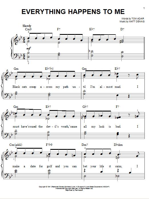 Partition piano Everything Happens To Me de Frank Sinatra - Piano Facile