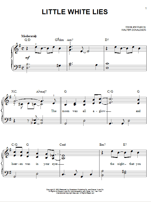 Little White Lies Sheet Music