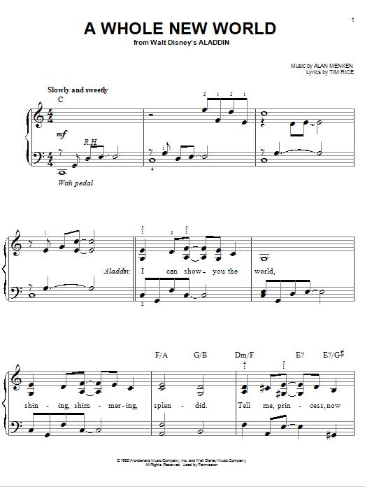 Partition piano A Whole New World (Aladdin's Theme) de Alan Menken - Piano Facile