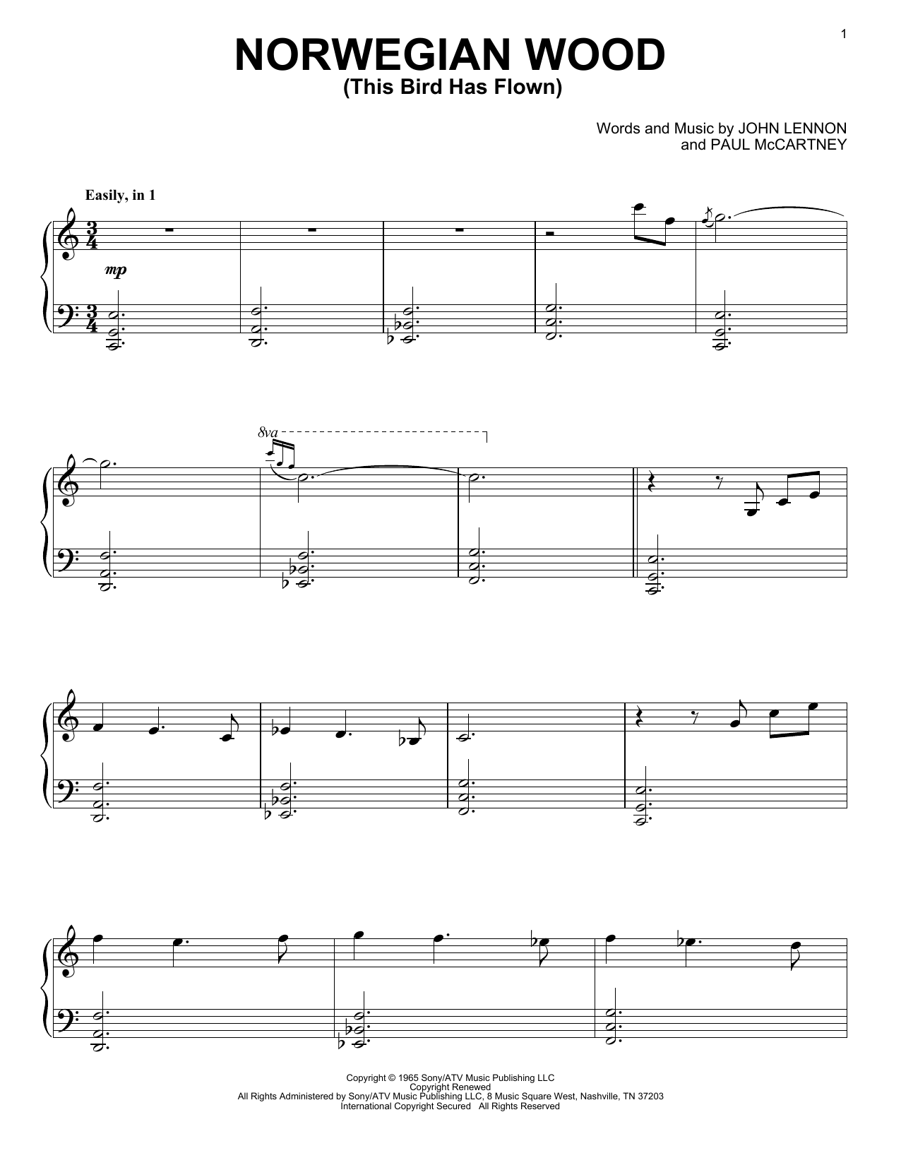 Norwegian Wood (This Bird Has Flown) Sheet Music