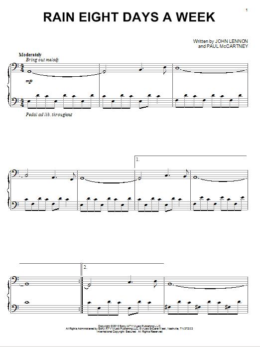 Rain Eight Days A Week (Piano Solo)