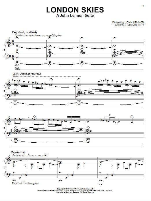 London Skies - A John Lennon Suite (Piano Solo)