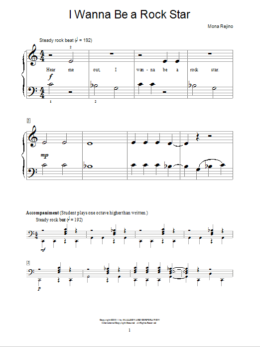 I Wanna Be A Rock Star Sheet Music