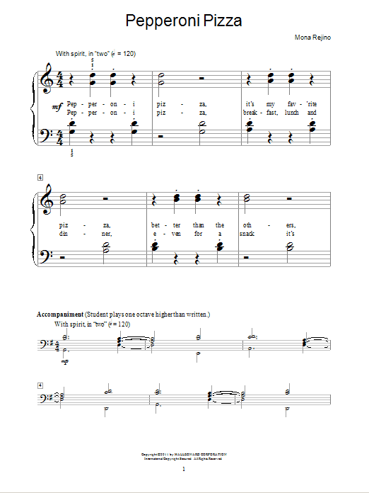 Pepperoni Pizza Sheet Music