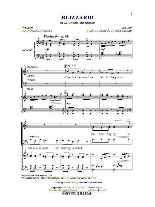 Blizzard Sheet Music