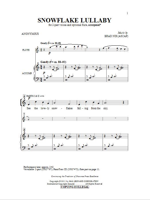 Snowflake Lullaby (2-Part Choir)