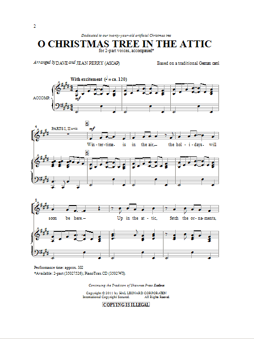 Partition chorale O Christmas Tree In The Attic de Dave Perry - 2 voix