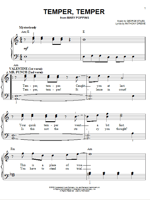 Temper, Temper Sheet Music