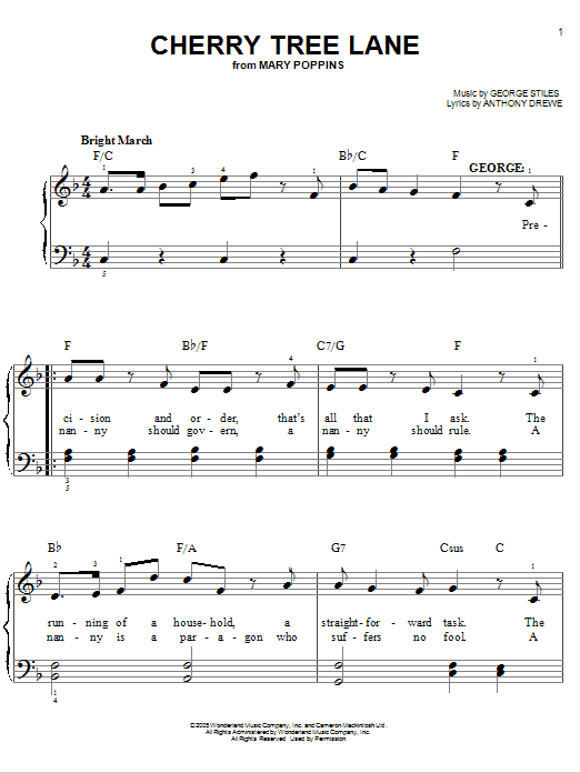 Partition piano Cherry Tree Lane de Stiles and Drewe - Piano Facile