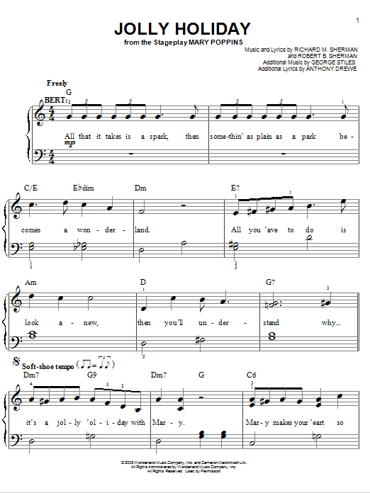 Partition piano Jolly Holiday de Stiles and Drewe - Piano Facile