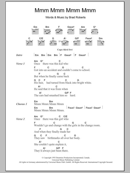 Mmm Mmm Mmm Mmm Sheet Music