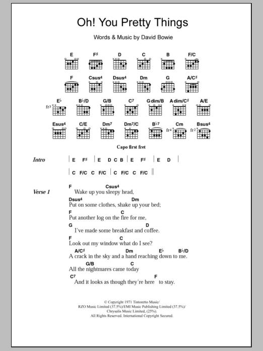 Oh You Pretty Things By David Bowie Guitar Chordslyrics Guitar