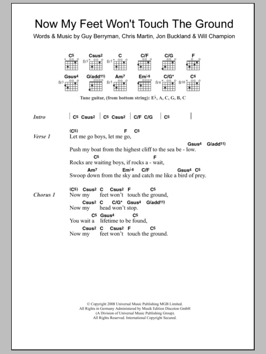 Now My Feet Wont Touch The Ground By Coldplay Guitar Chords