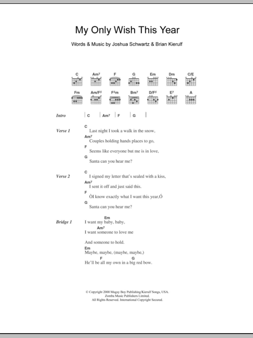 My Only Wish This Year Sheet Music