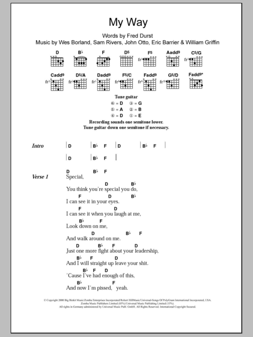 My Way by Limp Bizkit - Guitar Chords/Lyrics - Guitar Instructor