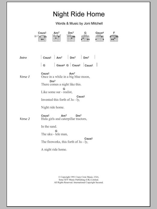 Night Ride Home Sheet Music Joni Mitchell Lyrics Chords