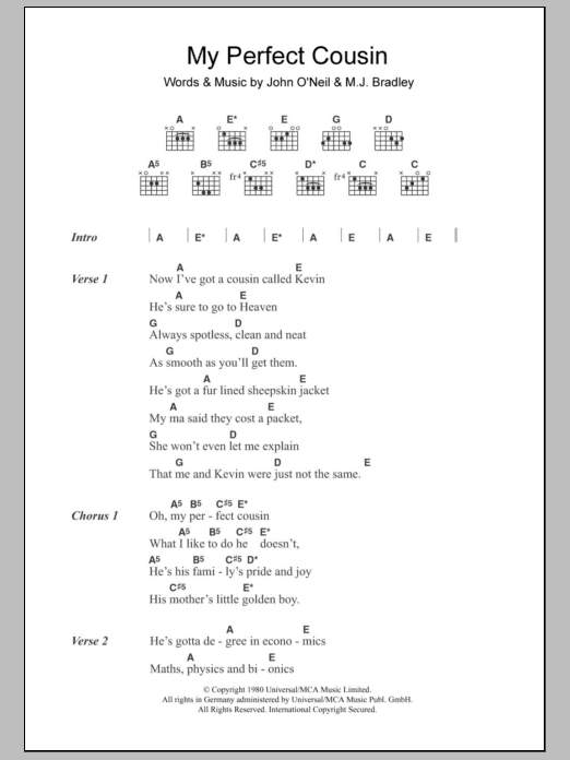 My Perfect Cousin Sheet Music
