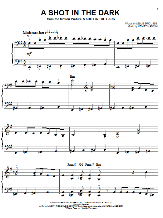 A Shot In The Dark Sheet Music