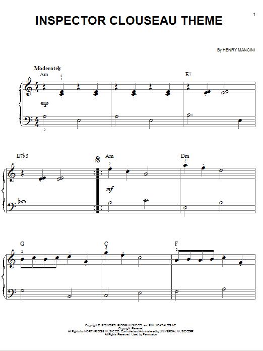 Inspector Clouseau Theme (Easy Piano)