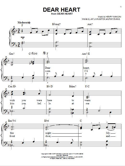 Partition piano Dear Heart de Henry Mancini - Piano Facile