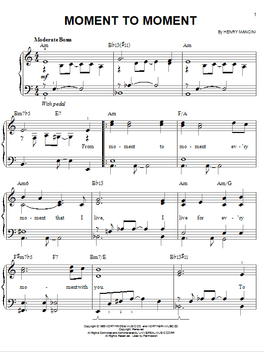 Moment To Moment Sheet Music