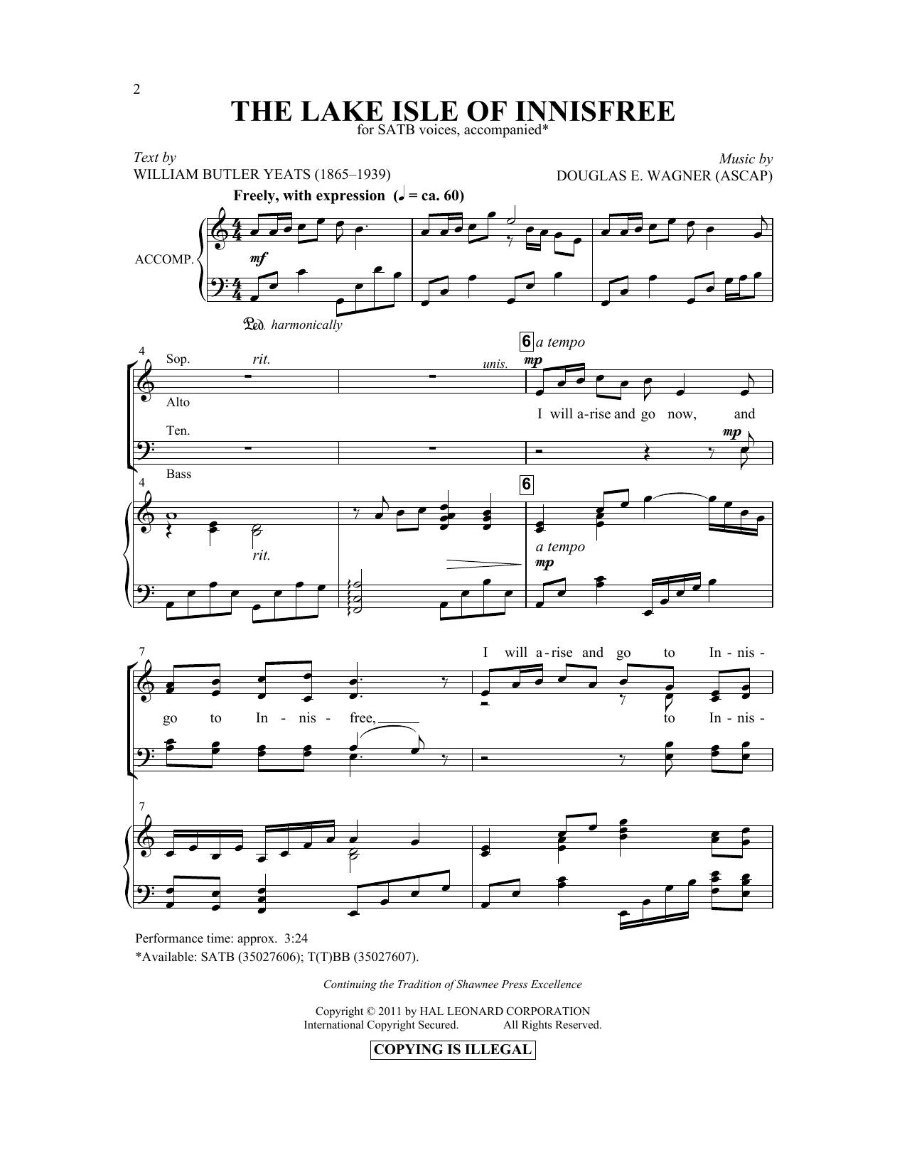 Partition chorale The Lake Isle Of Innisfree de Douglas E. Wagner - SATB