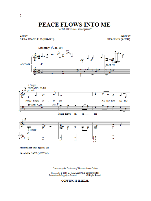 Peace Flows Into Me Sheet Music