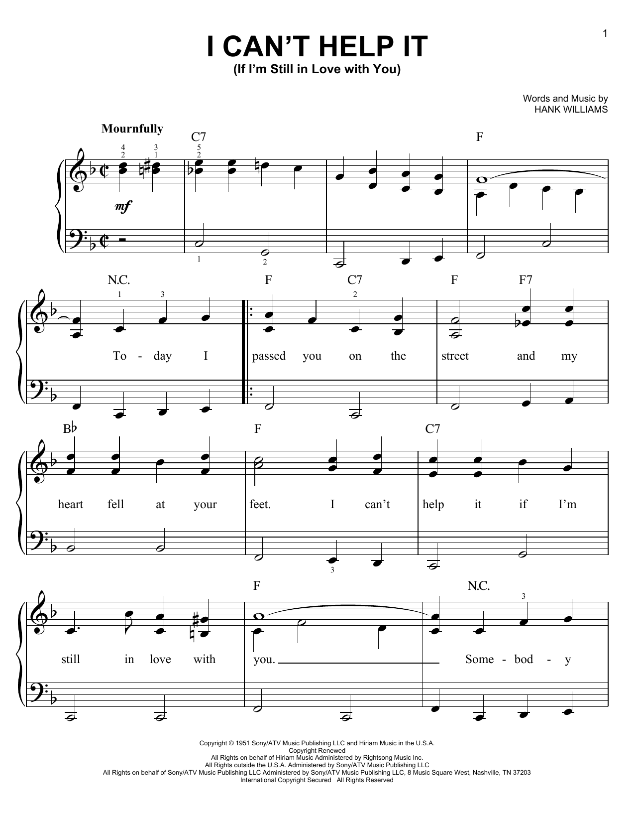 Partition piano I Can't Help It (If I'm Still In Love With You) de Hank Williams - Piano Facile