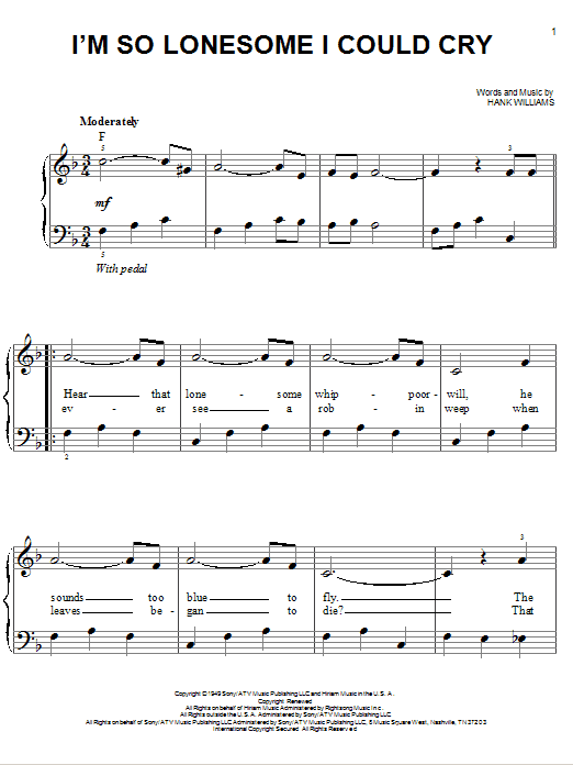 I'm So Lonesome I Could Cry Sheet Music