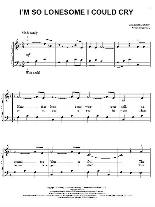 Partition piano I'm So Lonesome I Could Cry de Hank Williams - Piano Facile