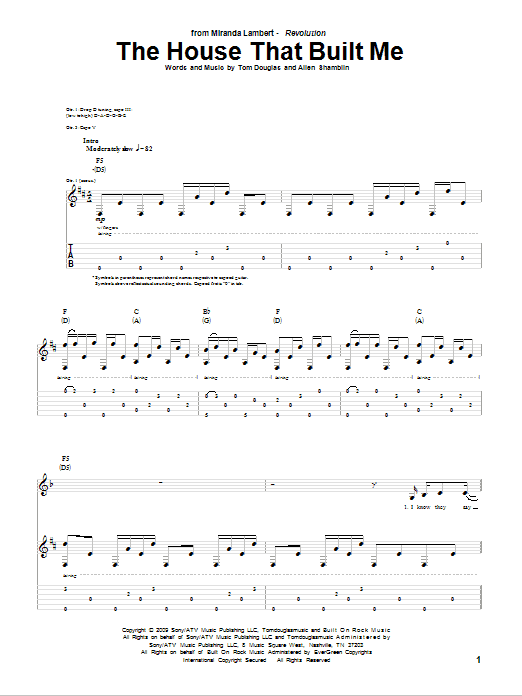 The House That Built Me Sheet Music | Miranda Lambert | Guitar Tab