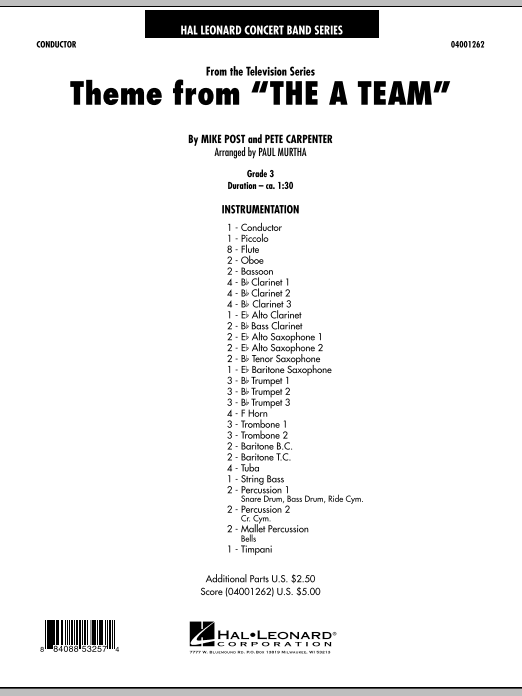 Theme from The A-Team (COMPLETE) sheet music for concert band by Paul Murtha, Mike Post and Pete Carpenter. Score Image Preview.