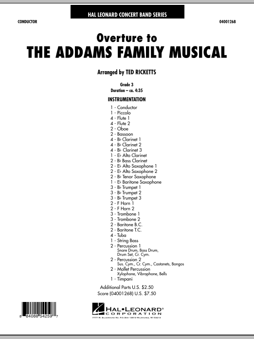 Overture to The Addams Family Musical - Full Score (Concert Band)