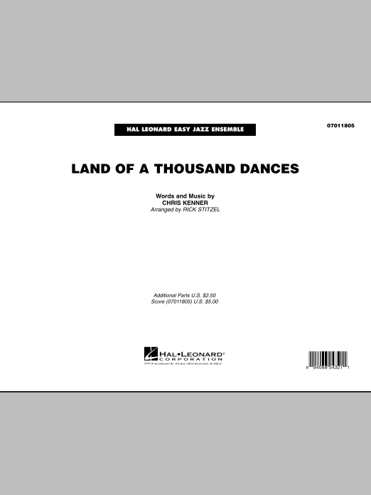 Land Of A Thousand Dances (COMPLETE) sheet music for jazz band by Rick Stitzel and Wilson Pickett. Score Image Preview.