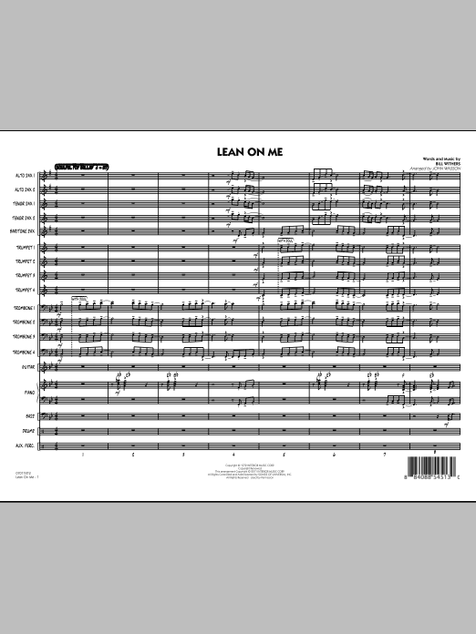 Lean On Me (COMPLETE) sheet music for jazz band by John Wasson and Bill Withers. Score Image Preview.