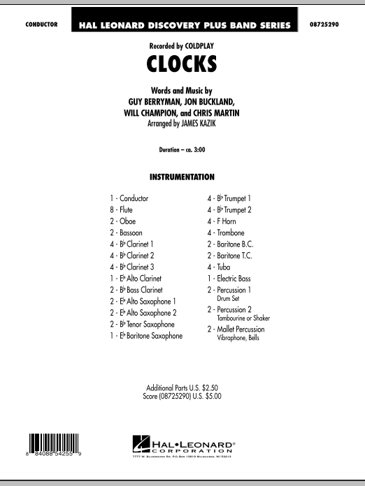 Clocks (COMPLETE) sheet music for concert band by James Kazik, Chris Martin, Coldplay, Guy Berryman, Jon Buckland and Will Champion. Score Image Preview.