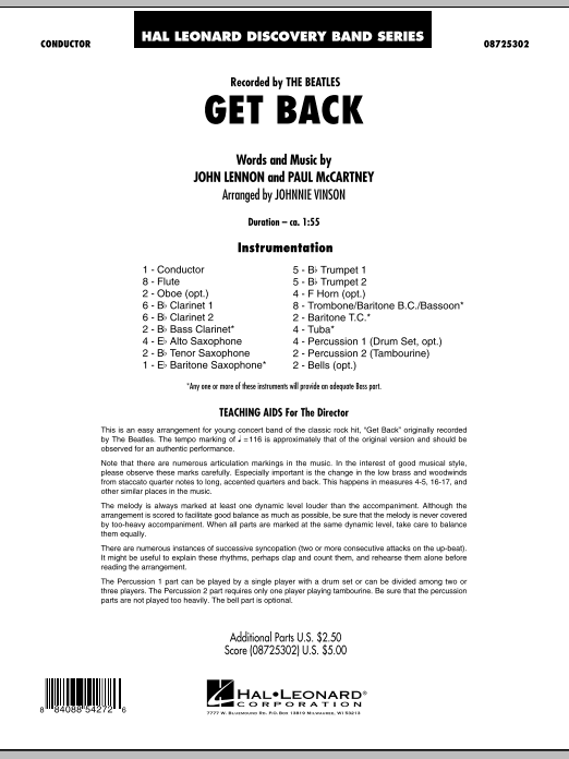 Get Back (COMPLETE) sheet music for concert band by Johnnie Vinson, John Lennon, Paul McCartney and The Beatles. Score Image Preview.