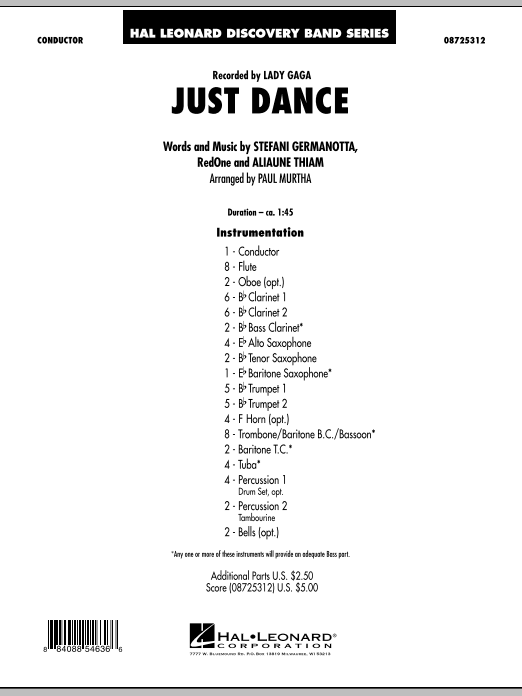 Just Dance (COMPLETE) sheet music for concert band by Paul Murtha, Aliaune Thiam, Lady GaGa and RedOne. Score Image Preview.