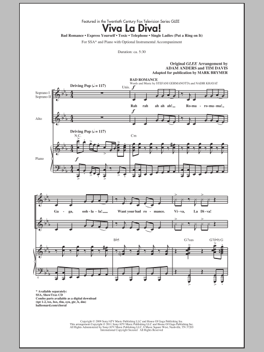 Viva La Diva! (Medley featuring Songs from Glee) Sheet Music
